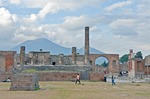 Ancient Roman city of Pompeii from the Forum facing Temple of Jupiter and Mount Vesuvius