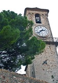 Cannes medieval church bell tower clock on Le Suquet