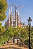 Antoni Gaudi's unfinished Templo Expiatorio de la Sagrada Familia (Expiatory Church of the Holy Family) under renewed construction in Barcelona