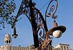 Barcelona's Paseo de Gracia, ornate lamp post and architecture