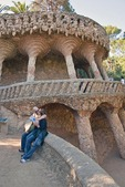 Antoni Gaudi's Parc Guell stone colonnaded viaduct in Barcelona