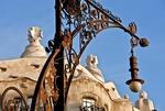 Barcelona's Paseo de Garcia, lamp post at Antoni Gaudi's La Pedrera (Casa Mila) museum