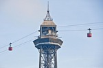 Barcelona cable cars over the harbor, Transbordardor, at central tower, Torre de Jaume I