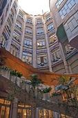 Antoni Gaudi's La Pedrera Museum, stairway in courtyard, in Barcelona
