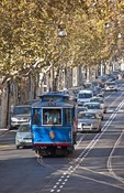 Barcelona's Blue Trolley (Tramvia Blau) on Tibidabo Avenue Heritage Line to the funicular station for Tibidabo Mountain