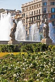 Barcelona's central Placa de Catalunya statues and fountains