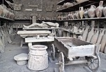 Ancient Roman city of Pompeii Forum Granary area where relics unearthed from ruins include plaster cast of victim
