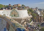 Antoni Gaudi's Parc Guell overlook of city of Barcelona