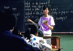 Middle school English language teacher in Beijing classroom in 1988