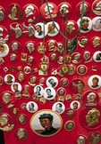 Mao button collection from Cultural Revolution period at flea market in Anhui province