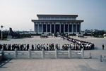 People, domestic and foreign, line Tiananmen Square for the daily ritual of viewing the embalmed remains of the Great Helmsman in the Chairman Mao Memorial Hall (AKA Mausoleum of Mao Zedong)