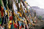 Tibetan prayer flags overlooking the Potala Palace in Lhasa