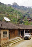 Satellite dish, probably illegally installed, in rural Guangxi's Longsheng County in 1999