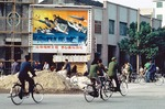 "Guilin billboard in 1981 proclaiming Deng Xiaoping's slogan ""Cultivate Spiritual Civilization, Unite for Four Modernizations"""