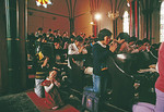 Parishioners praying in the choir loft during Sunday morning mass in Beijing at the Xishuku Catholic Cathedral in 1988