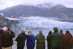 Glacier Bay, Alaska, cruise ship passengers observing John Hopkin Glacier