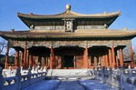 The class hall of Piyong, Imperial College (Guozijian) in Beijing. The class hall of Piyong is the representative architecture of Guozijian. The Imperial College is located just to the west of the Confucian Temple and is recognized as the highest official institution of learning Iit was first established in 1287 during the Yuan Dynasty and subsequently enlarged several times, attaining its present dimensions during the reign of Emperor Qianlong of the Qing Dynasty. After the founding of the People's Republic in 1949, the Imperial College was completely renovated and the Capital Library was incorporated within its grounds. The east and west auxiliary halls of the Piyong Hall originally housed the Qianlong Stone Scriptures. In the middle of the 18th century, Emperor Qianlong ordered to have the Thirteen Classics engraved in stone. To carry out this order, Jiang Heng, a scholar from Jiangsu Province, spent 20 years carving the 630,000 Chinese characters onto 189 stone tablets. Today these tables are located to the east of the Taixue Gate.