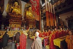 Jinshan (Gold Hill) Temple during prayer by Buddhist monks in Zhenjiang