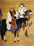 Kublai Khan hunting with his son on horseback (historical painting)
