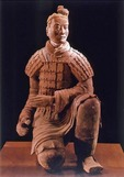 Kneeling terra cotta warrior from tomb of Qinshihuangdi in Xian