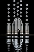Morocco's Hassan II Mosque interior window in Casablanca, world's 5th largest mosque