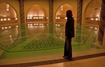 Hassan II Mosque's interior communal bath pool in Casablanca, Morocco