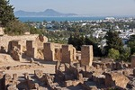 Carthage's Punic Quarter ruins on Byrsa Hill overlooking Bay of Carthage near Tunis