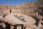 Roman amphitheater of El Djem or Thysdrus with stage for concerts