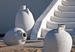 Jars at beach house at Tunis, Tunisia