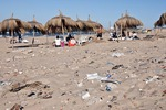 Trash on Gammarth beach of Mediterranean Sea at Tunis, Tunisia