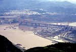 Three Gorges Dam under construction on Yangtze River at Sandouping in 2002