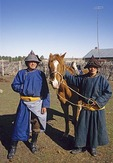 Inner Mongolia young horsemen on farm in Hulun Baier