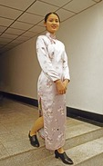 Chinese qibao dress (cheongsam) features slit skirt