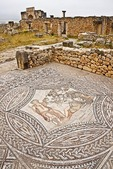 Volubilis Roman ruins, ancient mosaic tile floor of villa depicting the lovers Dionysus and Ariadne