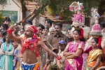 Colorful entertainers during Pongal Festival, an ancient harvest celebration, in village of Alanganallur in Tamil Nadu, India.