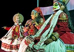The stylized dance drama of Kathakali originated in what is now the Indian state of Kerala in the 16th century.  Katha (story) Kali (performance) is typified by elaborate costumes, colorful descriptive make-up, voiceless hand and body gestures, and rhythmic dancing.