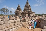 8th century Mahabalipuram Shore Temple of Pallava rulers in Dravidian architectural style along Bay of Bengal in Tamil Nadu