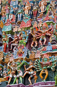 Detail of figures of Hindu mythology on Sri Meenakshi Sundareswarar Temple in Madurai