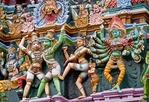 Detail of figures of Hindu mythology on Sri Meenakshi Sundareswarar Temple in Madurai