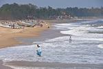 Boats at Mahabalipuram Beach on Bay of Bengal near Shore Temple in Tamil Nadu