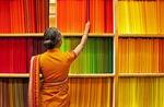 Colorful Indian textile selection at Jayalakshmi Silk Emporium in Cochin (Kochi), Kerala
