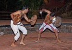 Kalaripayattu, or Kalari martial art of Kerala, with combatants using swords and shields in Calicut performance