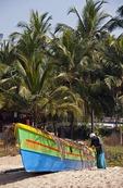 Fisherman preparing fishing boat on historic Kappad Beach in North Kerala where Vasco-da-Gama landed in 1498