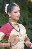 Mohaniyattam dancer in traditional Keralite costume performing at Travancore Heritage Resort at Chowara, Kerala.