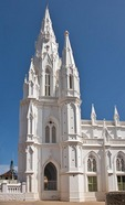 Our Lady of Ransom Church, built in Gothic style with Portuguese influence in 1914, in Kanyakumari, Tamil Nadu.