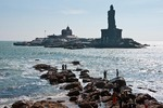 Kanyakumari Temple or Kumari Amman, dedicated to the virgin goddess Parvati, on coast at terminus of Arabian Sea and Bay of Bengal with Indian Ocean at southern tip of India in Tamil Nadu.