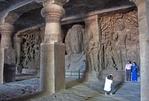 Elephanta Caves, rock-cut Hindu temples on Elephanta Island across harbour from Mumbai.
