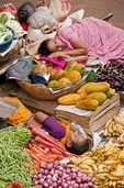 Indoor produce market with sleeping clerks in Panaji, Goa.