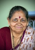 Portrait of elderly Indian woman in Goa.