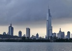 Skyline of Nanjing from Xuanwu Lake with Nanjing Greenland Financial Center